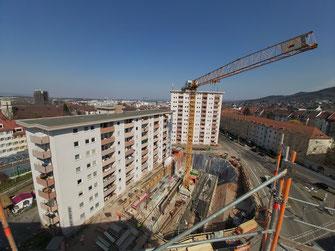 Es geht voran bei unserem Wohnungsbauprojekt Ecke Rennweg / Stefan-Meier-Straße in Freiburg.