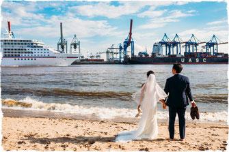 Hochzeitsfoto Elbstrand - Fotografin: Anne Hufnagl