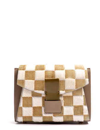 OSTWALD Bags . Finest Couture . Handcrafted Leatherbag . Glide Loop . Shoulderbag small . colour taupe . oliv . white