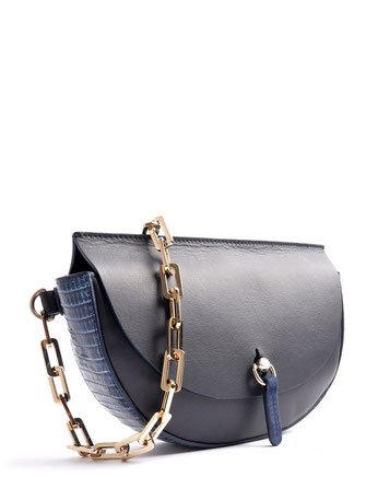 OSTWALD Bags . Finest Couture . Handcrafted Leatherbag . Saddle Bag . Bodybag . navy blue