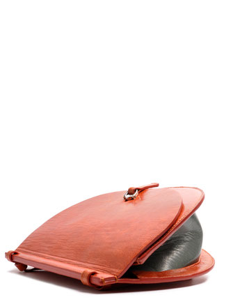 OSTWALD Bags . Finest Couture . Handcrafted Leatherbag . Saddle . Shoulder bag . colour salvia cognac