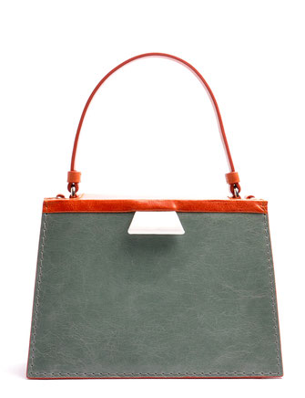 OSTWALD Bags . Finest Couture . Handcrafted Leahterbag . Tote . cognac . salvia . white