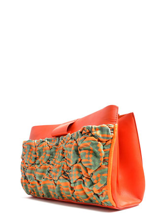 OSTWALD Bags . SHOPPER . Small Shopper Bag  . Leather bag in multicolor . orange green leather bag . Shop online . Everyday Bag.  Webshop