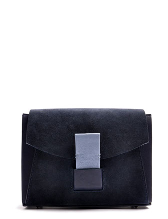 OSTWALD Bags . Finest Couture . Handcrafted Leatherbag . Shoulderbag . Glide Loop navy blue . acqua