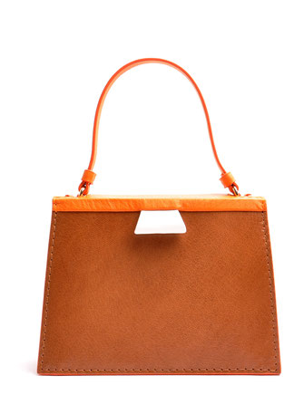 OSTWALD Bags . Finest Couture . Handcrafted Leahterbag . Tote . brandy . orange . white