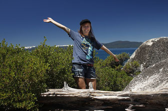 Blogger in front of Lake Tahoe