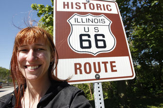 Blogger in front of Route 66 sign, Illinois