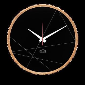 Design Wanduhr Holz schwarz