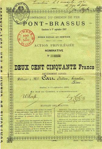 """""""Le Pont-Brassus"""" wurde am 19. August 1899 eingeweiht"""