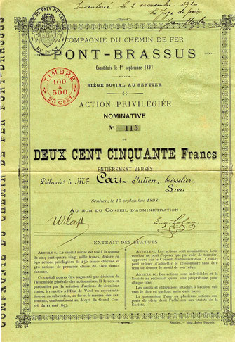 """Le Pont-Brassus"" was inaugurated on 19th August 1899"