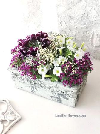紫のシックな寄せ植え 4,500円