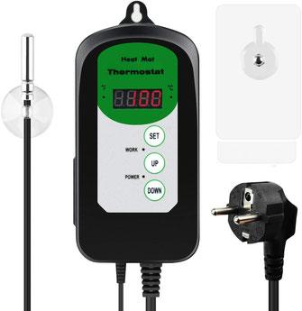 Heizmatten zur Anzucht von Pflanzen - ein Thermostat hilft dabei  Strom zu sparen, da die Heizmatte nur bei Unterschreiten der festgelegten Temperatur heizt.