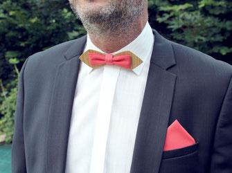Noeud papillon corail, noeud pap en bois, mariage couleur corail, noeud pap marié, accessoire homme mariage