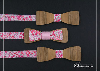 Noeud papillon bois tissu rose liberty anglais phoebe