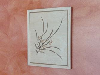 Petit tableau en bois bouquet d'orchidées dites le avec des fleurs