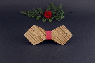 Noeud pap en bois rayé, noeud papillon bois pas cher