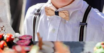 Noeud papillon double en bois pour enfant