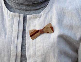 Broche noeud papillon bois patchwork marqueterie49
