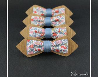 Noeud pap en bois, noeud papillon liberty anglais bleu rouge rose, noeud pap en bois