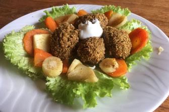 boulettes de falafels frits sur une assiette de salade verte, carottes et panais