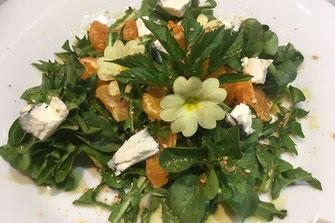 Salade de mâche pissenlit égopode, morceaux de feta et d'orange, fleur de primevère