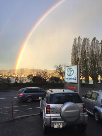 Regenbogen vor Toyota Tafel