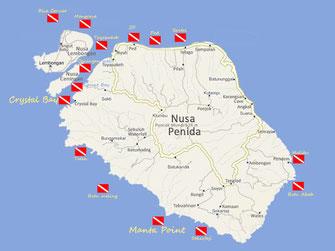 carte des meilleures sites de plongée de Nusa Penida, Lembongan et ceningan