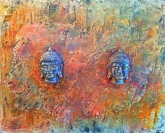 The Ancient Buddhas - Series 3 2107 (Acryl Mischtechnik Marmormehl, Sumpfkalk, Tusche, Pigmente mit Gips Modellierung) 100x80x4