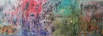 Far away from home 2017 (Acryl Mischtechnik, Sumpfkalk, Marmormehl, Asche, Pigmente, Tusche) 120x40x4