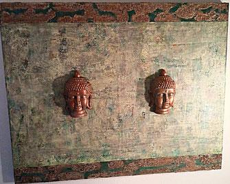 The Emerald Buddhas - Series 4 2018 (Acryl Mischtechnik , Strukturpaste, Sumpfkalk, Kaffee mit Gips Modelierung auf Leinwand) 100x80x4