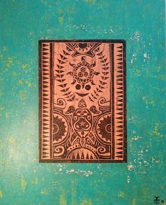 The Maori Project - Turtle & Sun #3 2019 (Acryl auf Leinwand mit Linoldruck) 80x100x4