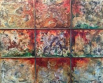 Jailhouse Rock 2017 (Acryl Stahl Modellierung, Strukturpaste, Marmormehl, Asche, Pigmente, Tusche, Stahl) 100x80x4