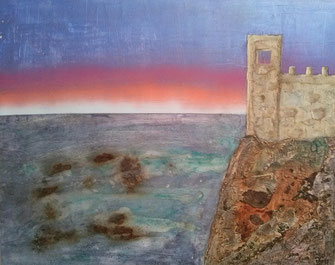 Castle by the Sea 2017 (Acryl Mischtechnik Strukturpaste, Asche, Sumpfkalk, Pigmente, Kaffee) 100x80x4