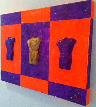 Art Torso 3 - violet orange 2016 (Acryl Gips Modellierung) 70x50x4