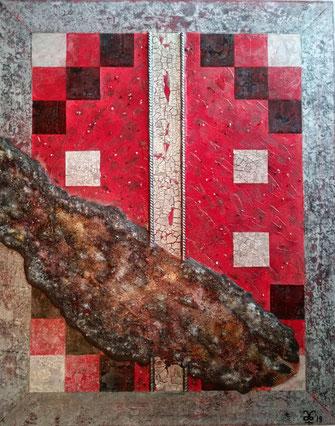 The Last Open Road - Part II - Aetna Crossing 2019 (Acryl Stahl Modellierung, Sumpfkalk, Spachtelmasse, Asche, Sand, Pigmente, Tusche, Stahl) 80x100x4,5 ... nicht mehr verfügbar