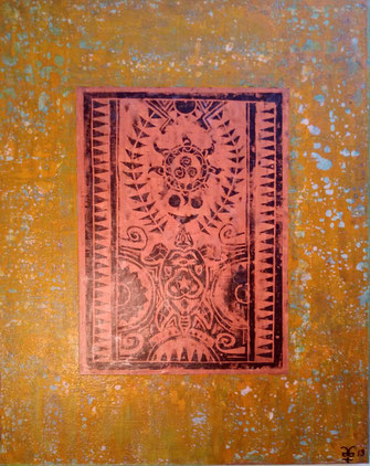The Maori Project - Turtle & Sun #1 2019 (Acryl auf Leinwand mit Linoldruck) 80x100x3,5  ... verfügbar in Mallorca.. disponable en illes balears