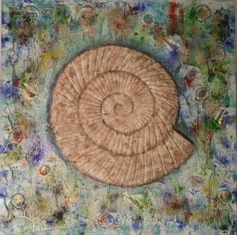 The Ammonit Project #1  2019 (Acryl Mischtechnik auf Leinwand, Marmormehl, Pigmente, Sand mit Gips Modellierung)  60x60x4
