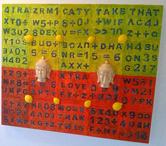 The Lemon Buddhas - Series 1 2016 (Acryl Mischtechnik Marmormehl, Gesso mit Gips Modellierung) 120x100x4