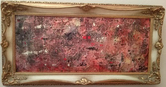 Rock meets Classic -simply red- 2017 (Acryl Mischtechnik, Strukturpaste, Asche, Pigmente, Tusche)  45x19