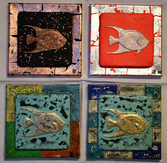 The Jordi Fish Collection 2020 Series3 #19-22 (Arcryl Mischtechnik) 20x20x1,7 ... pescados especial...
