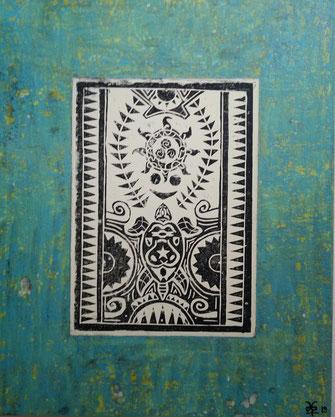 The Maori Project - Turtle & Sun #2 2019 (Acryl auf Leinwand mit Linoldruck) 80x100x3,5  ... verfügbar in Mallorca.. disponable en illes balears
