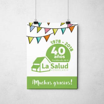 Cartel para interior anunciando el 40 aniversario.