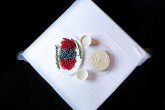 Früchte Beeren und Zutaten für eine Torte