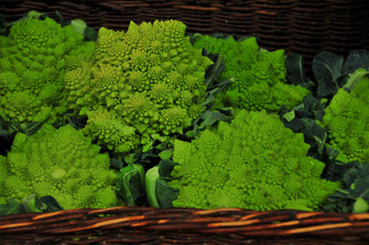 Romanesco Salat vom Bauern aus der Region im Korb