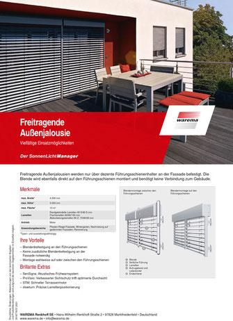 Produktdatenblatt WAREMA Freitragende Außenjalousie