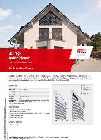 Produktdatenblatt WAREMA Schräg Außenjalousie