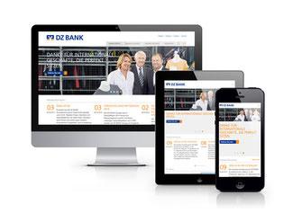 Neue Webseite der DZ Bank auf verschiedenen Endgeräten