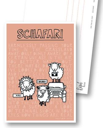 Rapü Design Postkarte Schafari