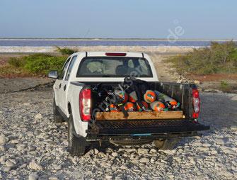 Pickup mit Tauchequipment
