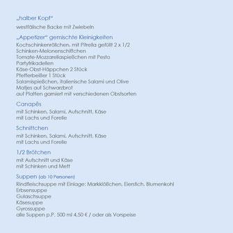 Laschkes IDEEN FÜR IHR PARTYESSEN halber Schweinskopf, Canapes, halbe Brötchen, Suppen, Antipasti